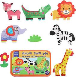 Educational Animal Puzzles Jigsaw Games 6 in a Box Puzzle fo