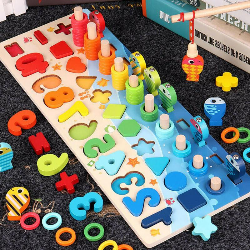 children s kids number matching fishing board