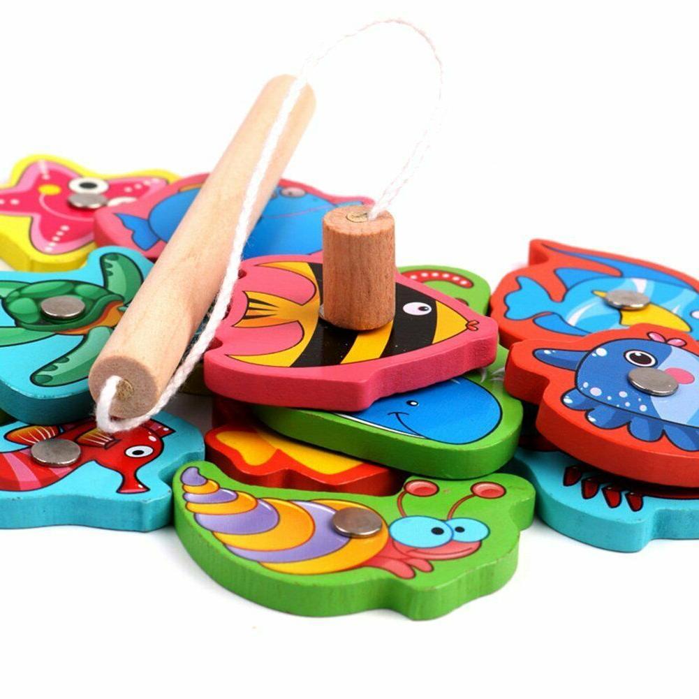 Fishing Toys Fun Puzzle Children Baby Wooden Playset Tin Box
