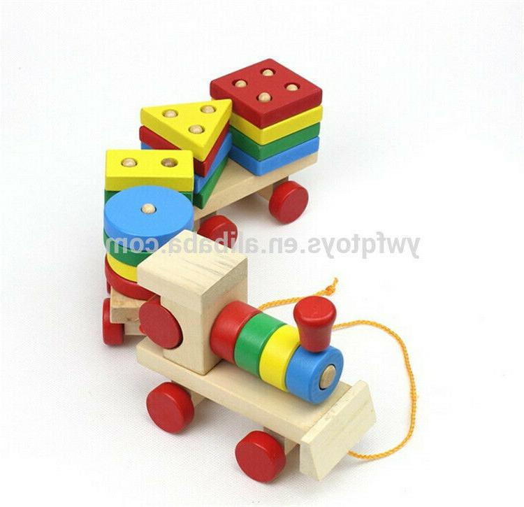 Kids Shapes Toy Wood Games Puzzle Train Montessori