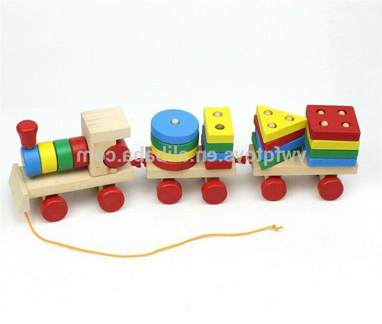 Kids Shapes Learning Toy Wood Games Puzzle Train Education