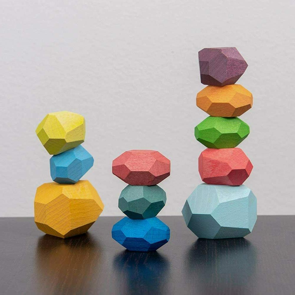 wooden balancing blocks colored wooden stones stacking