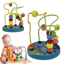 Mini Wooden Children Kids Baby Colorful Around Beads Educati