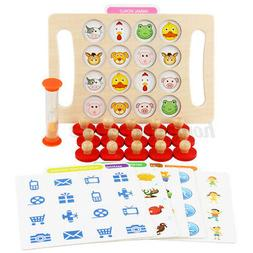 Montessori Memory Chess Teaching Wooden Games Kids Education