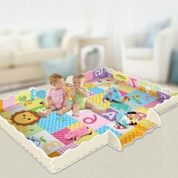 Soft EVA Foam Baby Kids Game Gym Play Mat w/ Fence Crawling
