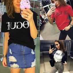 Women Casual Blouse Short Sleeve Fashion T Shirt Loose Short