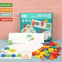 Wooden Cardboard English Spelling Alphabet Game Early Educat