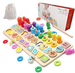 Wooden Number Puzzle Sorting Montessori Toys for Toddlers Sh