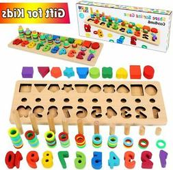 Wooden Number Puzzle Sorting Montessori Toys for Toddlers -